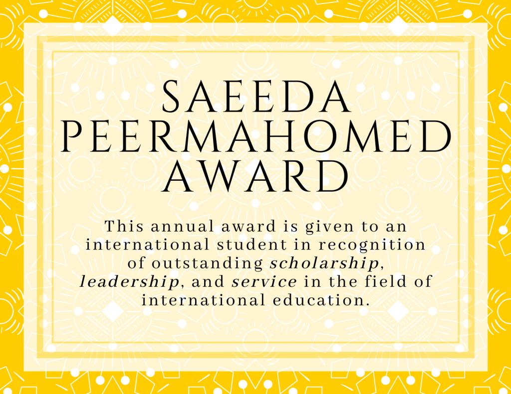 Saeeda Peermahomed Award Information
